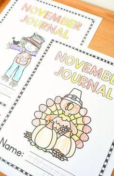 November Writing Journal Prompts for Kids - Fantastic Fun & Learning Preschool Teacher Tips, Preschool Learning Activities, Preschool Themes, Writing Activities, Fun Learning, Preschool Kindergarten, Early Learning, Teaching Resources, Kindergarten Journals