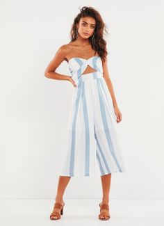 This dreamy jumpsuit will do your every event justice. - Blue and white striped strapless jumpsuit - Twist front and cut out detail - Elastic back - Invisible back zip - Wide, cropped legs - Partially lined - Cotton, Polyester Dress it up with killer heels and Peppermayo jewellery. Shop the latest jumpsuits online at Peppermayo. Strapless Jumpsuit, Long Jumpsuits, Killer Heels, Blue Stripes, Blue And White, Style Inspiration, Poses, Summer Dresses, My Style