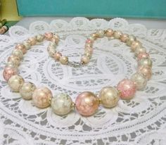"""Vintage Single Strand Ice Blue & Pink Mableized Bead 25"""" Necklace Ready To…"""