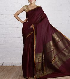 Wine Kanjivaram Silk Saree