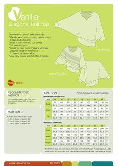 pdf sewing pattern waffle patterns Diagonal Knit Top -Vanilla- (size 34-48) – Waffle Patterns
