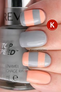 Stripey grey and peach nails using Revlon Hazy and Nails Inc You鈥檙e A Peach