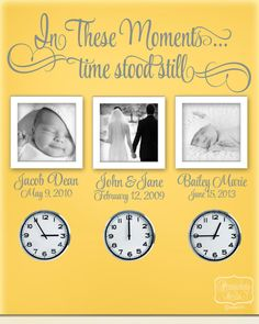 In These Moments...Time stood still - vinyl wall quote with Personalized name and date lettering- choose your color on Etsy, $28.00