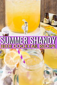 Peach Summer Shandy is a simple beer cocktail made with a light beer, lemonade, and peach brandy is the perfect summer drink. Homebrew Recipes, Beer Recipes, Icing Recipes, Ramen Recipes, Sausage Recipes, Easy Recipes, Cookie Recipes, Carrot Recipes, Lentil Recipes