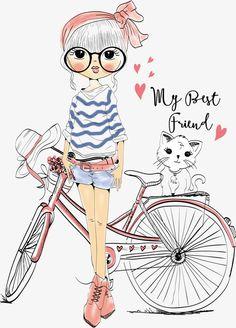 decoration,Postcard Design,T-Shirts element,Vector,lovely,little vector,girl vector,kitty vector,bike vector
