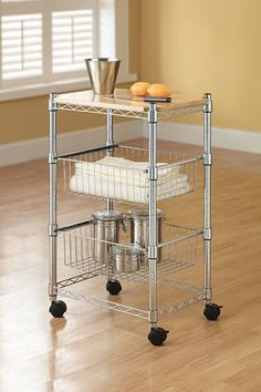 The Whalen® Storage Chrome Wire Cart can be used virtually anywhere. Whether it's used as a utility cart in your garage or a center island in your kitchen, this cart can store just about anything! Along with a solid wood butcher-block top and casters, this cart includes spacious shelves that also adjust in 1'' increments to accommodate all your storage needs.