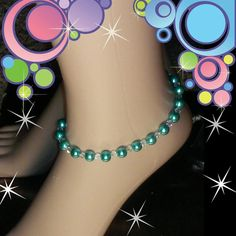 Handcrafted ankle bracelet Handcrafted by me, this aqua glass simulated pearl and crystal ankle bracelet is simply stunning. The light reflects beautifully off of the crystals and could be worn casually or with a dressier outfit. On jewelry wire for lasting durability, the anklet has a magnetic clasp for an easy fast on/ fast off closure. SORRY NO TRADES Unique Inspirations  Jewelry