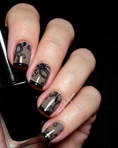 black lace french tip nail art stamping by Sassy Shelly