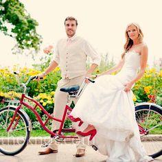 Tandem bike + red shoes at a Mackinaw Island wedding - how sweet!