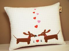 Wiener Dog Dachshund Pillow Doxies in Love by persnicketypelican