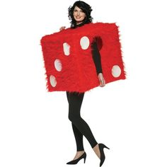 This lucky die costume features a plush, fuzzy exterior that looks like the sort of dice that might hang in the rearview mirror. - One Fuzzy Die Costume - Size: Adult Standard - SKU: CA-013094