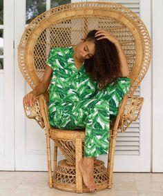 Maggie Pajama Set Long Pants Palm Leaf / Banana Leaf by Piyama