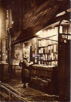 """This wonderful image is from a friend in London with whom I normally swap art postcards with, but she sent this very bookish card recently. The descriptions reads """"Sicilian Avenue"""" c. 1925"""