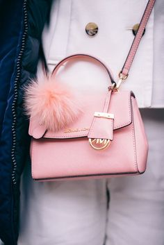 Winter in NYC - Michael Kors mini pink cross bag with fluffy pom pom