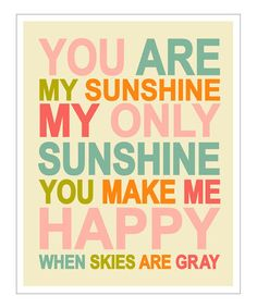 Take a look at this Pink & Orange 'You Are My Sunshine' Giclée Print by Finny and Zook on #zulily today!