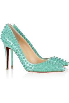Heel measures approximately 100mm/ 4 inches Turquoise leather Spike studs, pointed toe, signature red leather sole Slip on Designer color: Aqua Marine