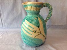 "Circa 1950 GUIDO GAMBONE Italy Art Pottery 9"" Turquoise PITCHER w/DONKEY Mark #GUIDOGAMBONE #DonkeyHallmark"