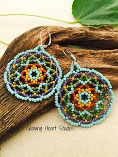 Anasazi Maiden Mandala earrings turquoise by GlowingHeartStudios. Love, love color combo!!