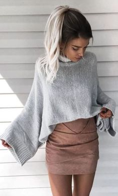 This is one of the cutest crop top sweater outfits!