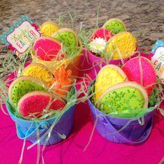 Easter egg sugar cookies in baskets..