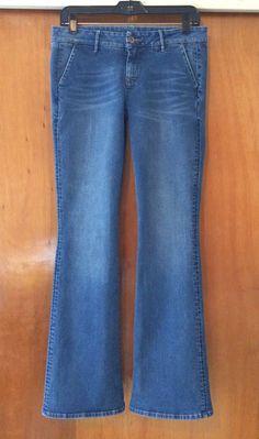 NAF NAF Flare Blue Jeans Size 10 Low Rise Casual Denim Pants Side Open Pockets #NAFNAF #Flare #Casual