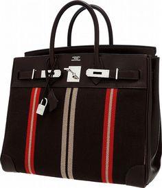 06b689f170 Hermes Limited Edition Ebene Evercalf   Jumping Canvas HAC Birkin Bag with  Palladium Hardware