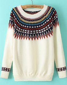 White Geometric Print Round Neck Knit Sweater 18.33