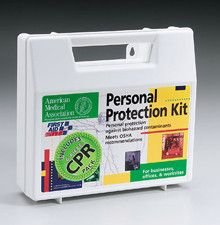 18 piece Personal protection kit w/ 6 piece CPR pack- plastic case- 1 ea. - Our 13-piece, personal protection kit is designed to guard persons attending to the injured or ill. (Many companies specifically require this kind of protection. ) This kit includes a CPR one-way valve faceshield as part of the complete head-to-toe defense package against bio-hazardous contaminants. Every aspect of this kit meets with federal OSHA recommendations. Products are contained in a sturdy, reusable plastic…