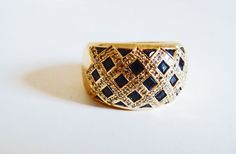 Genuine Sapphire & Diamond Ring in 18k Yellow Gold ~ circa 1980;s from fds on Ruby Lane