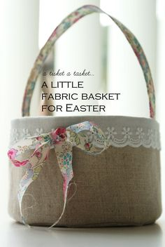 † Fabric Basket from nanaCompany - very nice, very detailed tutorial - I would like to see this (maybe without handle) as a storage basket as well (pinning to both storage and Easter boards) - the sweet little tattered fabric bow can be any fabric, tuck on a few DIY flowers and it can be very shabby chic as well. Versatile - i'm loving this one!