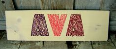 Cute! I'd probably just make something similar myself.    3 Letter Modern String Art Wooden Name Tablet  Made to by NineRed, $55.00