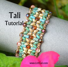 Tali Superduo Rulla Beadwork Bracelet PDF Tutorial by Lirigal, $6.50