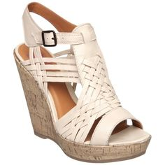 Head Over Heels Gemma Leather Wedge Sandals, Off white found on Polyvore