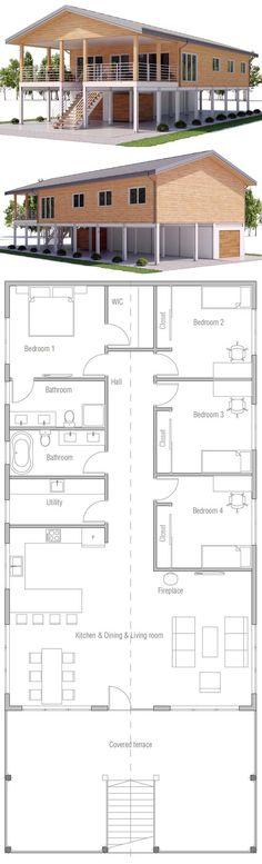 Raised coastal house plan, house on piers
