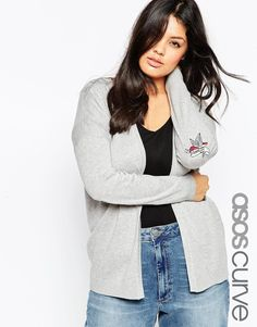 ASOS+CURVE+Swing+Cardigan+With+Tattoo+Elbow+Patch