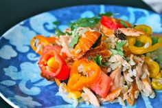 Salmon Brown Rice Salad (Make with quinoa instead of brown rice to reduce the carbs and up the protein.)
