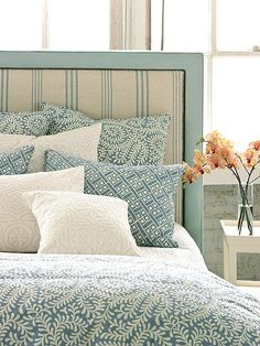 aqua bedroom, ticking stripe upholstered headboard