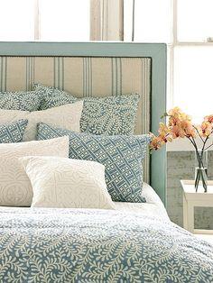 aqua bedroom, ticking stripe upholstered headboard