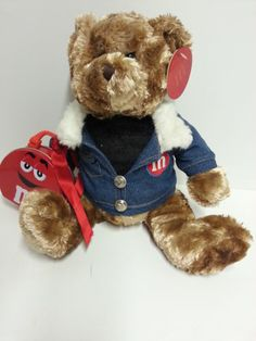 M Ms Brown Plush Teddy Bear Blue Jean Jacket Red Tin Lunch box attached NWT