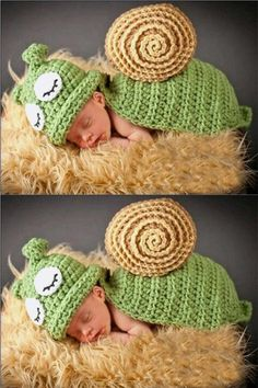 Your little snuggle critter will look adorable in this snail crochet costume set for their first newborn baby photo shoot. - super soft wool yarn - two piece set - use the hat for winter!