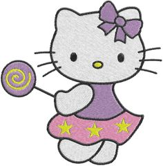 hello kitty embroidery designs | Embroidery Hello kitty lollipop Machine Embroidery Design -- 0593