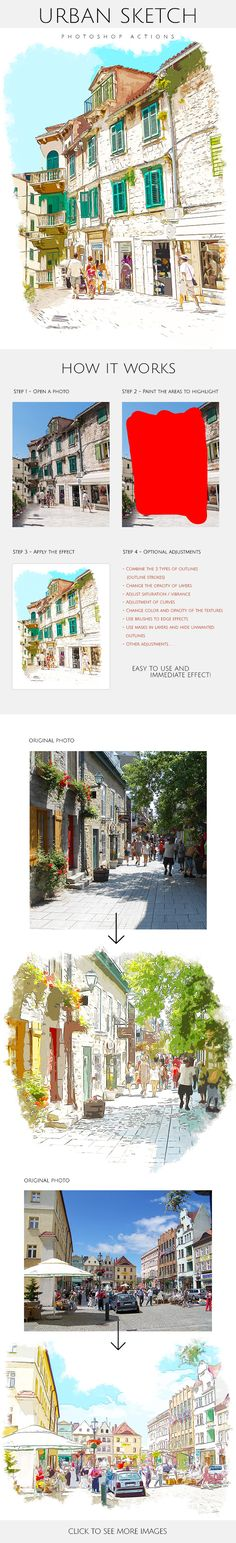 Urban Sketch - Photoshop Actions  #sketch painting #painting • Download ➝…