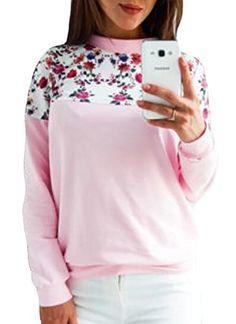 KXP Womens Loose Fit Sweatshirt Long Sleeve Crewneck Pullover Pink XS
