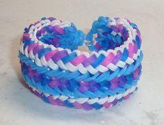 Rainbow Loom Bracelet ~ Snake Belly, Neon Blue, Jelly Purple, Jelly B…