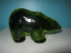 Green Glass Bear Paperweight, Collectible Desk Decor,  Home Decor, Heavy Glass, Deep Green Glass by Junkblossoms on Etsy