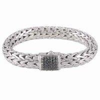 john hardy batu sari collection - Large Chain Black Sapphire Clasp Bracelet|BBS94052BLS