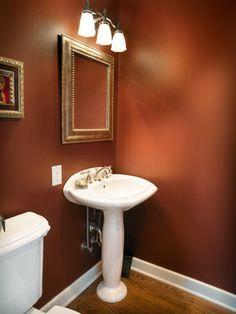 Bathroom color schemes, bathroom colors, room wall colors, powder r Bathroom Color Schemes, Bathroom Colors, Bathroom Ideas, Brown Bathroom, Small Bathroom, Burnt Orange Bathrooms, Red Bathrooms, Home Design, Rust Color Paint