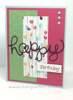 Another version of my birthday card using Stampin' Up! Hello You Thinlits and the Big Shot - details at http://stampwithkriss.com/happy-birthdays-with-hello-you-thinlits.
