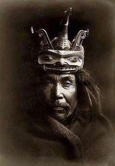 Edward Sheriff Curtis Kwakwaka'wakw Man Wearing a Wooden Tluwulahu Mask, Alaska 1914