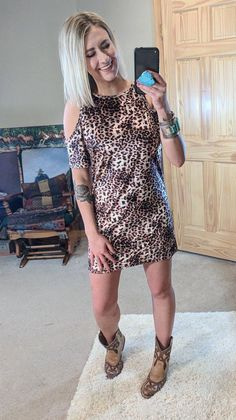 0519c608482a Leopard Cold Shoulder Tunic Dress-Small-Kinlee Rose Leopard Dress